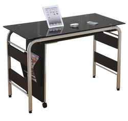 Garion Computer Desk W/Bk Tempered Gl