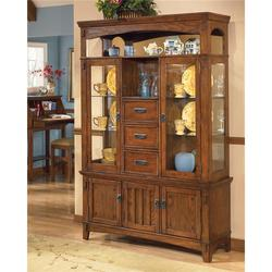 Cross Island Lighted Buffet and Hutch Cabinet