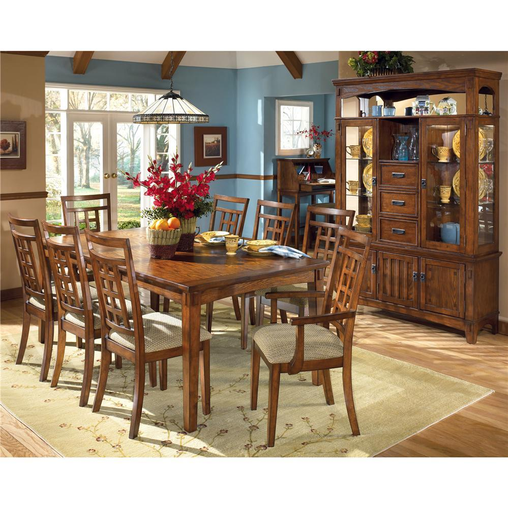 furniture cross island rectangular extension table and 8 chair set