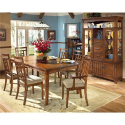 Cross Island Rectangular Extension Table and 6 Chair Set