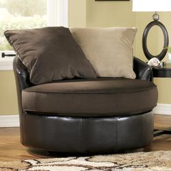 Gemini - Chocolate Contemporary Ultra Plush Loose Pillow Round Chair with Swivel Base