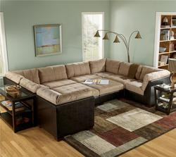 Gable - Mocha Sectional Sofa Group with Ottomans