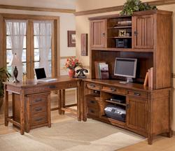 Cross Island 5 Piece L-Shape Desk Unit with Hutch and 2 Drawer File Cabinet