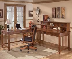 Cross Island L-Shape Desk with Low Hutch