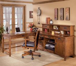 Cross Island L-Shape Desk with Credenza and Large Low Hutch