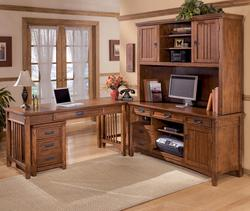 Cross Island 5 Piece L-Shape Office Desk Unit with Hutch & File Cabinet