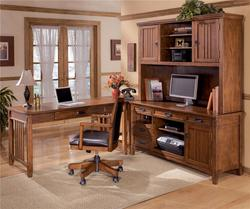 Cross Island 4 Piece L-Shape Office Desk Unit with Hutch