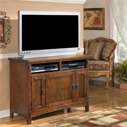 Cross Island 42 Inch Oak TV Stand with Mission Style Hardware