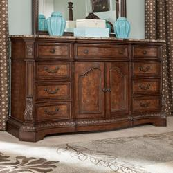 Ledelle Serpentine Shape Dresser with Natural Marble Parquetry Top