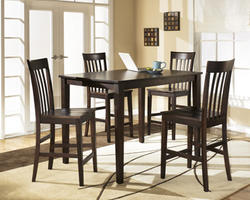 Hyland 5-Piece Rectangular Counter Height Table with 4 Bar Stools
