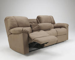 Eli - Cocoa Reclining Sofa w/ Drop Down Table