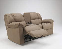 Eli - Cocoa Double Reclining Loveseat with Console