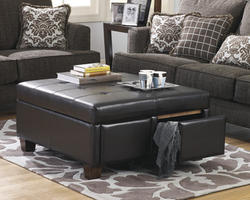 Durahide Bicast Brown Ottoman With Storage