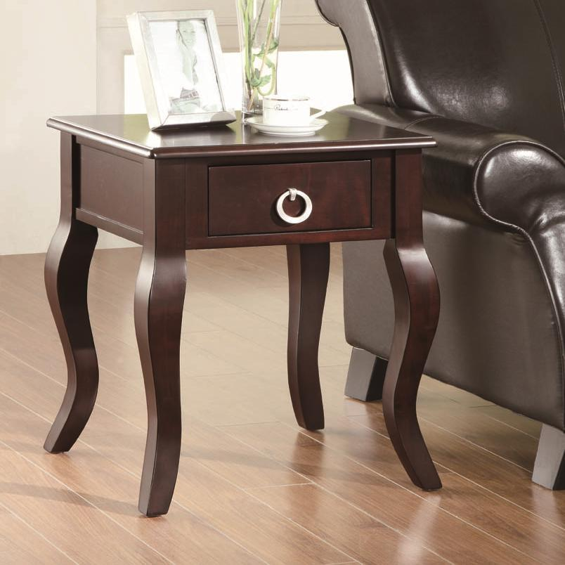 Coaster Occasional Tables Cappuccino Accent Table with Curved Legs