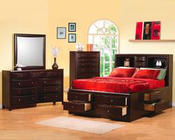 Phoenix 5 Piece California King Bookcase Bedroom Group