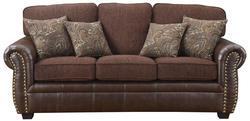 Florence Chenille Fabric/Vinyl Sofa with Nailhead Trim