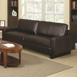 Ava Brown Contemporary Leather Sofa with Platform Legs