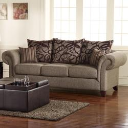 Auburn Transitional Brown Marble Sofa with Rolled Arms and Pillow Back
