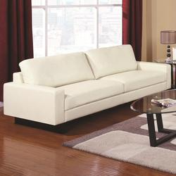 Ava Contemporary Leather Sofa with Platform Legs