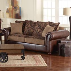 Clayton Elegant Living Room Sofa with Rolled Arms and Toss Pillow Seat Back