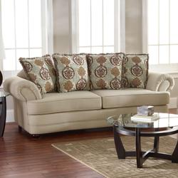 Fairview Traditional Cottage Styled Sofa with Throw Pillow Seat Back