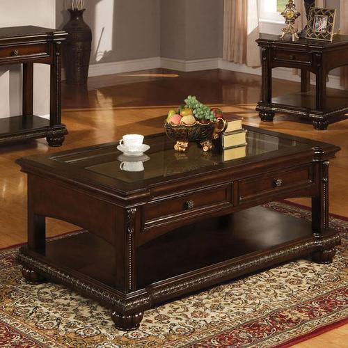 Acme Furniture Anondale Traditional Coffee Table W Glass