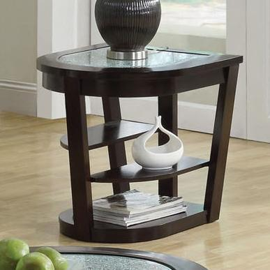 Capri Crackle Glass End Table W/ 2 Shelves