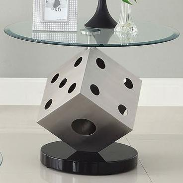 Acme Furniture Tamara Contemporary Glass End Table With Chrome Dice Base