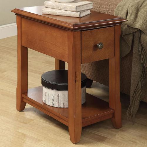Acme furniture corin side table with shelf and tapered legs
