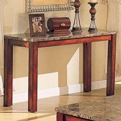 Bologna Brown Marble Sofa Table with Wood Block Legs