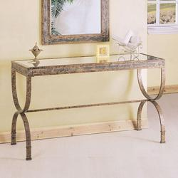 Egyptian Rectangular Console Table with Glass Table Top