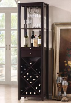 Casey Wine Cabinet Tower with 2 Shelves