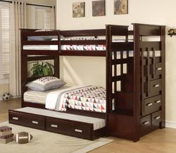 Allentown Twin Over Twin Bunkbed with Trundle and Storage Drawers