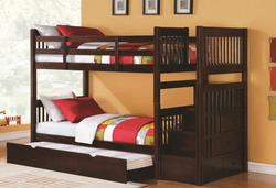Alem Twin Over Twin Bunk Bed with Trundle, Storage Drawers & Stairs