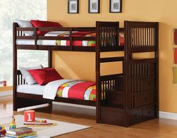 Alem Twin Over Twin Bunk Bed with Storage Drawers and Stairs