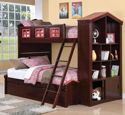 Coyle Playhouse Twin Over Full Bunkbed with Storage Bookcase and Trundle