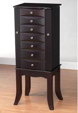 Teresa Transitional Jewelry Armoire with Mirror and Felt Lining