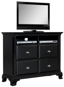 canterbury black television chest w 4 drawers