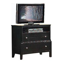 abram media chest with 2 drawers and open component storage