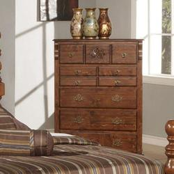 Ponderosa Traditional Seven Drawer Chest with Carved Rosette