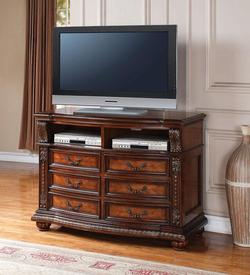 Nathaneal TV Console with Acanthus Leaf Detail