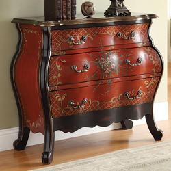 Iden Cherry Bombay Chest with Painted Floral Design