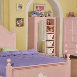 Floresville Pink Chest with Mirror Door and Shelves