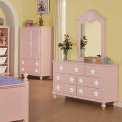 Floresville Pink Dresser and Mirror Combo