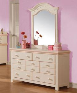 Crowley Traditional Seven Drawer Dresser and Vertical Mirror Set