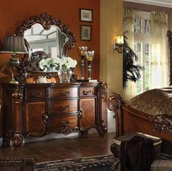 Vendome Dresser and Mirror Set with Carved Wood Details