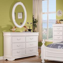Classique Traditional Double Dresser and Oval Mirror Combo