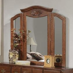 Ponderosa Tri-Fold Mirror with Crown Moulding
