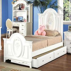 01660 Full Panel Bed with Painted Floral and Carved Details