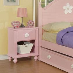 Floresville Pink Nightstand with White Flowers